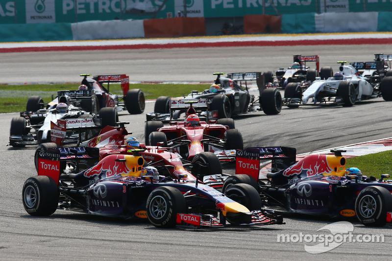 Daniel Ricciardo, Red Bull Racing RB10 and team mate Sebastian Vettel, Red Bull Racing RB10 at the s