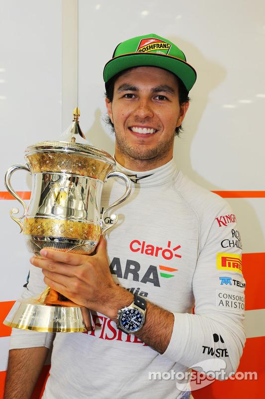 Sergio Perez, Sahara Force India F1 celebra sua terceira posição