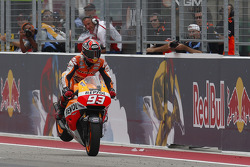 Race winner Marc Marquez celebrates