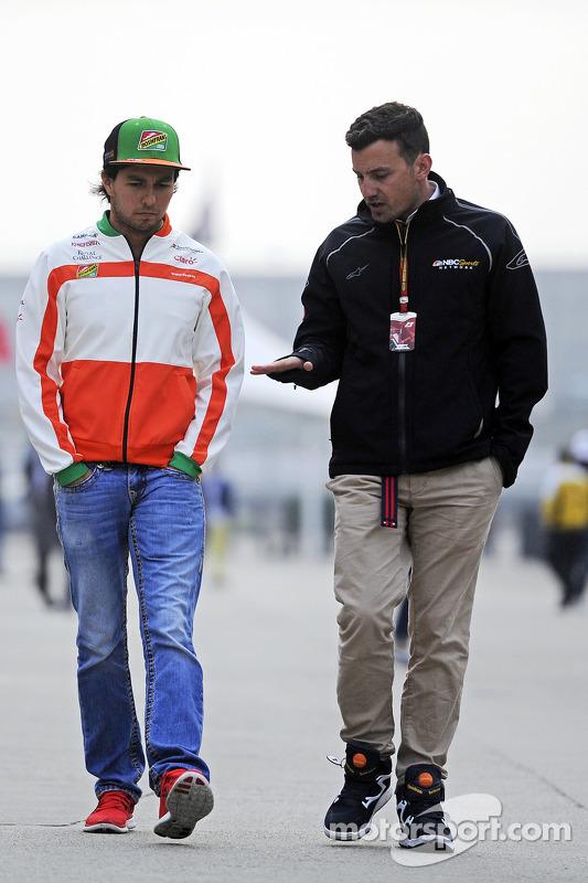 Sergio Perez, Sahara Force India F1; Will Buxton, NBC