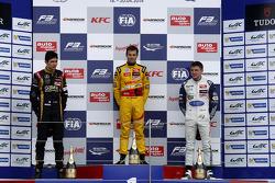 Podium: race winner Tom Blomqvist, second place Esteban Ocon, third place Jordan King