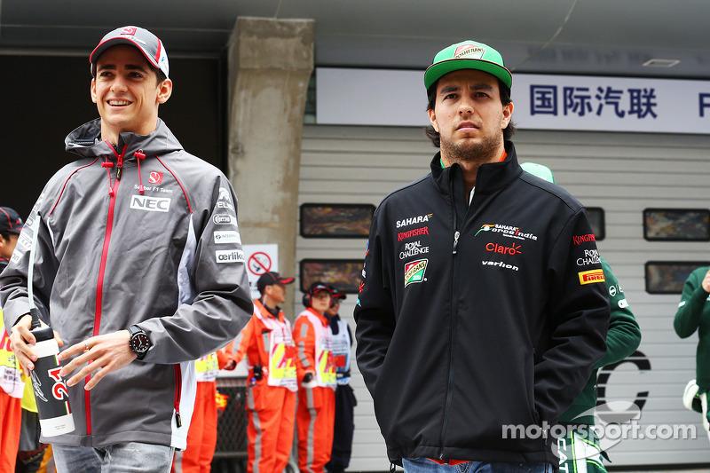 Esteban Gutierrez, Sauber with Sergio Perez, Sahara Force India F1 on the drivers parade.