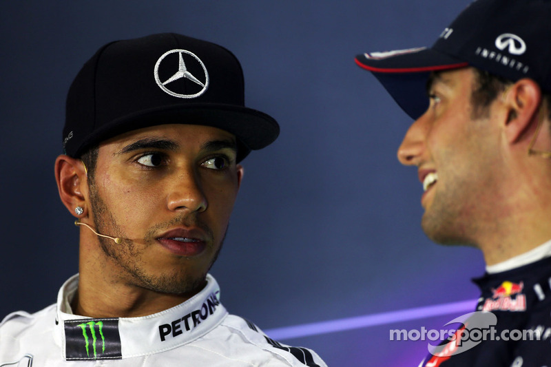 (L to R): Lewis Hamilton, Mercedes AMG F1 with Daniel Ricciardo, Red Bull Racing in the FIA Press Co