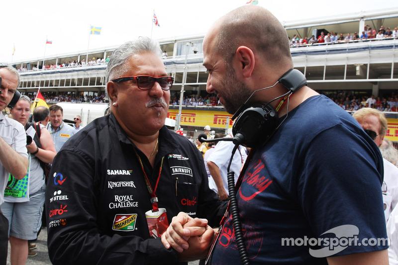 (L to R): Dr. Vijay Mallya, Sahara Force India F1 Team Owner with Gerard Lopez, Lotus F1 Team Princi