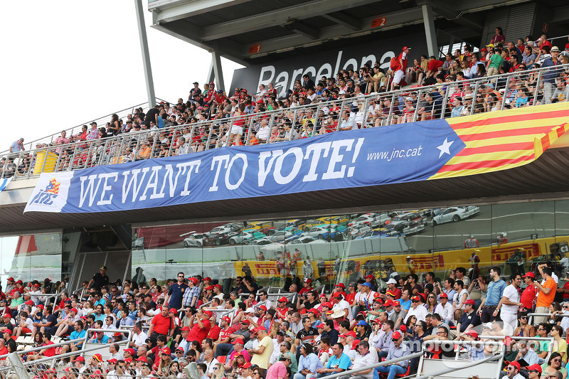 A banner in the grandstand