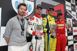 Race1 Podium, Sam Hancock, Struan Moore, Lanan Racing, Gaetano di Mauro, PetroBall Racing and Arjun Maini, Lanan Racing