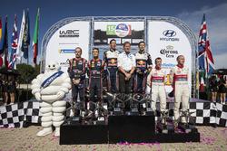 Podium: Winners Sébastien Ogier, Julien Ingrassia, M-Sport Ford WRT Ford Fiesta WRC, second place Dani Sordo, Carlos Del Barrio, Hyundai Motorsport Hyundai i20 Coupe WRC, third place Kris Meeke, Paul Nagle, Citroën World Rally Team Citroën C3 WRC