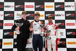 Podium: second place Tristan Charpentier, Fortec Motorsports, Race winner Nicolai Kjaergaard, Carlin, third place Kush Maini, Lanan Racing