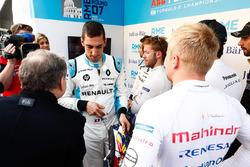 Sébastien Buemi, Renault e.Dams, Felix Rosenqvist, Mahindra Racing, talking to Jean Todt, FIA President