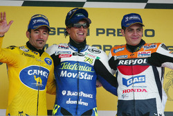 Podium: Race winner Sete Gibernau, Honda, second place Max Biaggi, Honda, third place Alex Barros, Repsol Honda