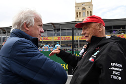 Charlie Whiting, FIA Delegate and Niki Lauda, Mercedes AMG F1 Non-Executive Chairman on the grid