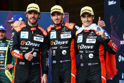 LMP2 podium: winners #26 G-Drive Racing Oreca 07: Roman Rusinov, Jean-Eric Vergne, Andrea Pizzitola