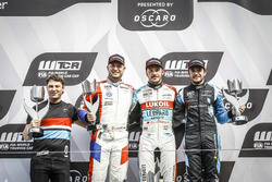 Podium: Race winner Tom Coronel, Boutsen Ginion Racing Honda Civic Type R TCR, second place Rob Huff, Sébastien Loeb Racing Volkswagen Golf GTI TCR, third place Frédéric Vervisch, Audi Sport Team Comtoyou Audi RS 3 LMS