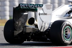 The new megaphone exhaust on the Mercedes GP