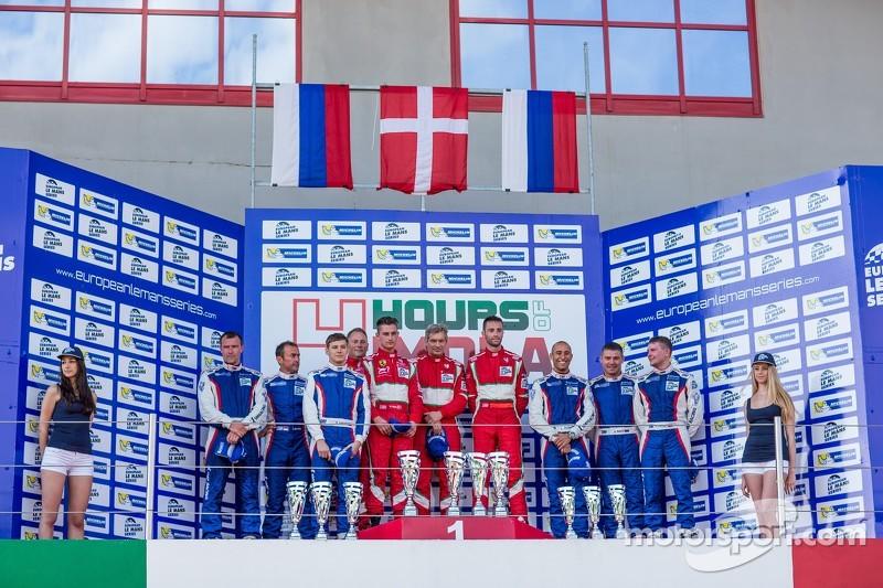 GTC podio: vincitori Andrea Piccini, Johnny Laursen, Mikkel Mac Jensen, secondo posto Olivier Berett