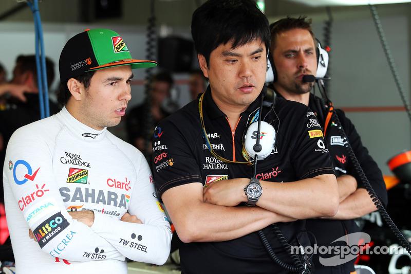 (L to R): Sergio Perez, Sahara Force India F1 with Akio Haga, Sahara Force India F1 Team Chief Desig