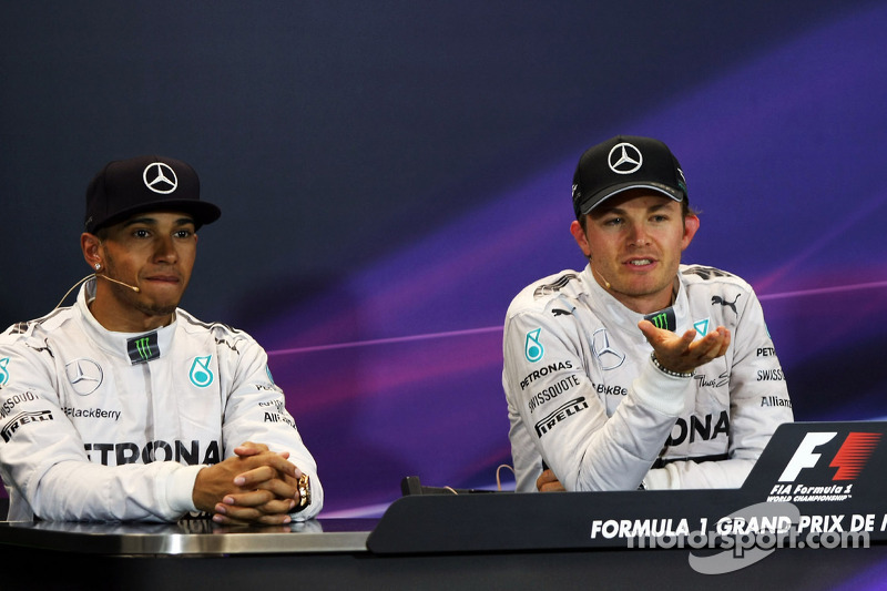 Conferenza stampa della FIA post gara, Lewis Hamilton, Mercedes AMG F1, secondo; Nico Rosberg, Merce