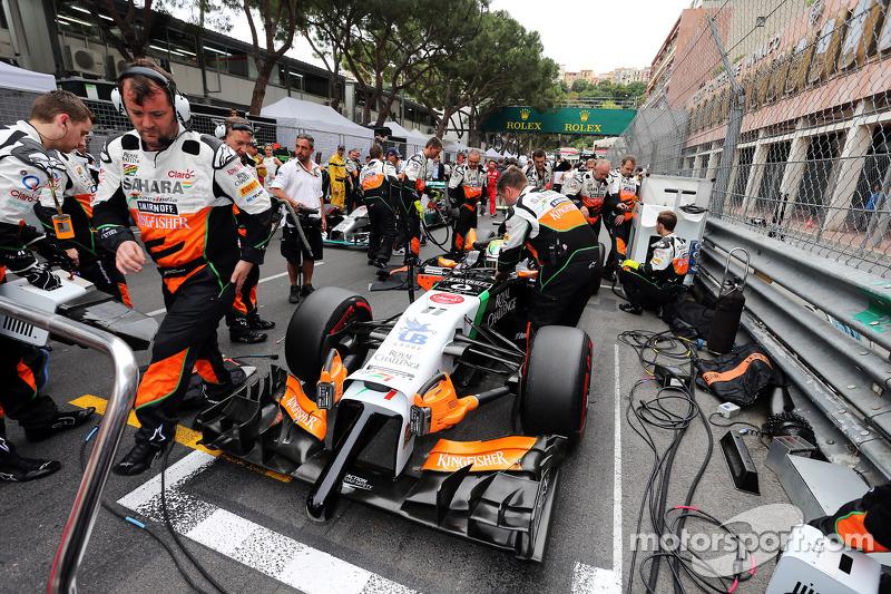 Sergio Perez, Sahara Force India F1 VJM07, in griglia