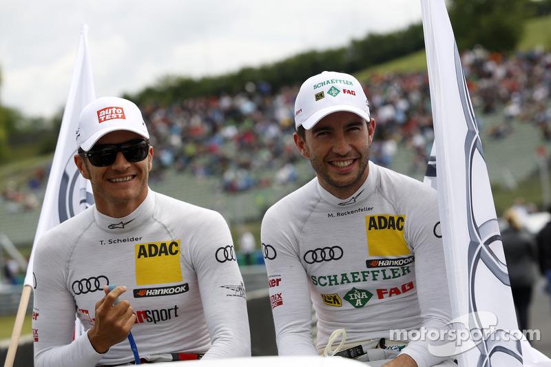 Timo Scheider, Audi Sport Team Phoenix Audi RS 5 DTM e Mike Rockenfeller, Audi Sport Team Phoenix Au