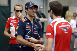 Daniel Ricciardo, Red Bull Racing with Jules Bianchi, Marussia F1 Team on the drivers parade