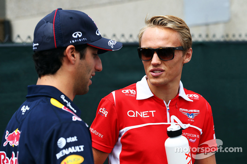 Daniel Ricciardo, Red Bull Racing with Max Chilton, Marussia F1 Team on the drivers parade