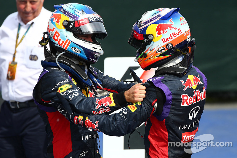 3rd place Sebastian Vettel, Red Bull Racing with 1st place Daniel Ricciardo, Red Bull Racing RB10