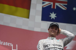 Second placed Nico Rosberg, Mercedes AMG F1 on the podium
