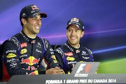 Race winner Daniel Ricciardo, Red Bull Racing and Sebastian Vettel, Red Bull Racing in the FIA Press