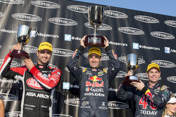 Race winner Jamie Whincup, second place Fabian Coulthard, third place Craig Lowndes