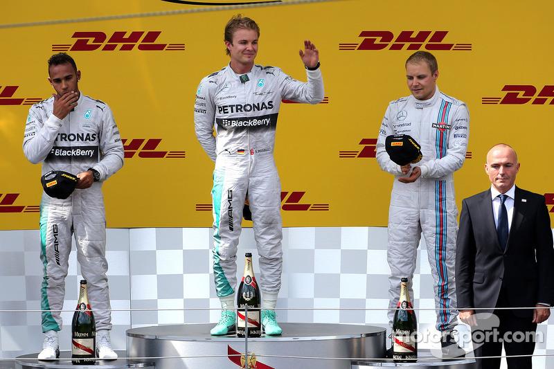 Lewis Hamilton, Mercedes AMG F1 Team, Nico Rosberg, Mercedes AMG F1 Team und Valtteri Bottas, Williams F1 Team