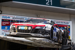 The winning #4 Phoenix Racing Audi R8 LMS ultra is placed on the car podium