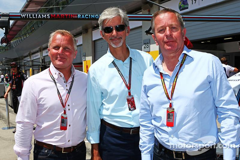 天空体育台F1解说员强尼·赫伯特和天空体育台解说达蒙·希尔,马丁·布伦德尔