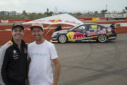 Craig Lowndes with world-record holding hang-glider Jonny Durand