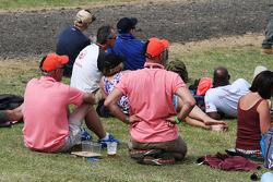 Fans wearing Pink for Papa, honouring the late John Button, McLaren