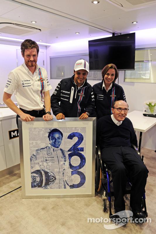 Felipe Massa, Williams, feiert seinen 200. GP, Rob Smedley, Techikchef Williams; Claire Williams, st
