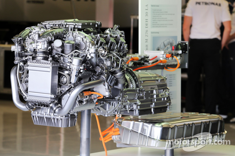 A road-going Mercedes engine on display in the pits