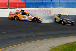 Joey Logano, Team Penske Ford and Morgan Shepherd crash