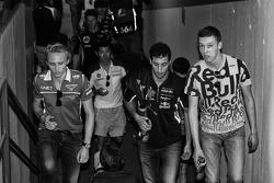 Max Chilton, Marussia F1 Team con Daniel Ricciardo, Red Bull Racing e Daniil Kvyat, Scuderia Toro Rosso