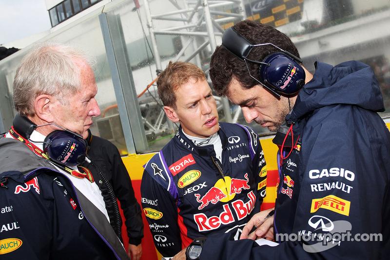 Dr Helmut Marko, Red Bull Motorsport Consultant with Sebastian Vettel, Red Bull Racing and Guillaume