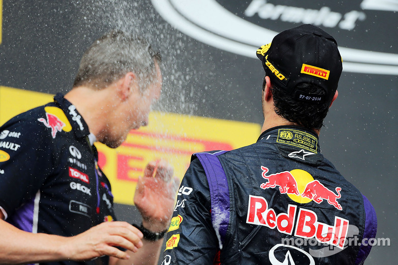 Daniel Ricciardo, Red Bull Racing celebrates with the champagne with Paul Monaghan, Red Bull Racing