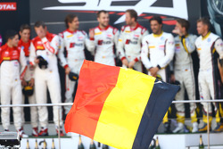 #1 Belgian Audi Club Team WRT Audi R8 LMS ultra: René Rast, Laurens Vanthoor, Markus Winkelhock, #3 Belgian Audi Club Team WRT Audi R8 LMS ultra: Christopher Mies, James Nash, Frank Stippler and #77 BMW Sports Trophy Team Marc VDS BMW Z4: Lucas Luhr, Mark