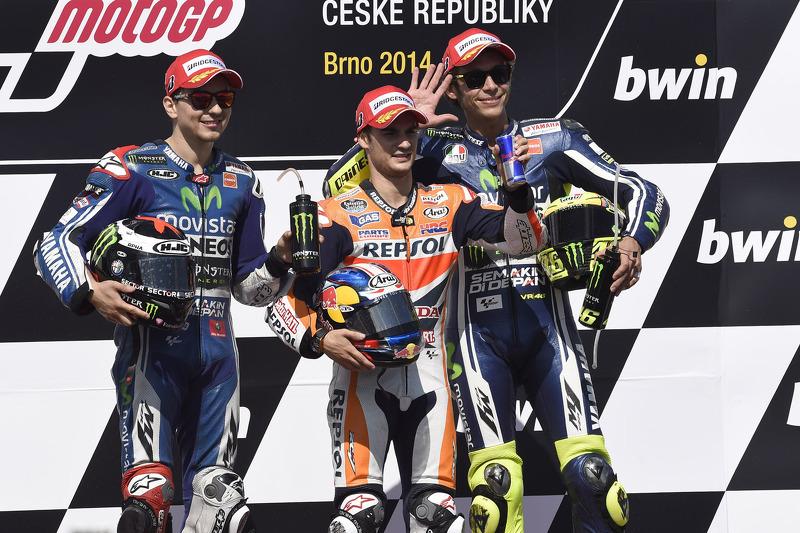 Podio: 1º Dani Pedrosa, 2º Jorge Lorenzo, 3º Valentino Rossi