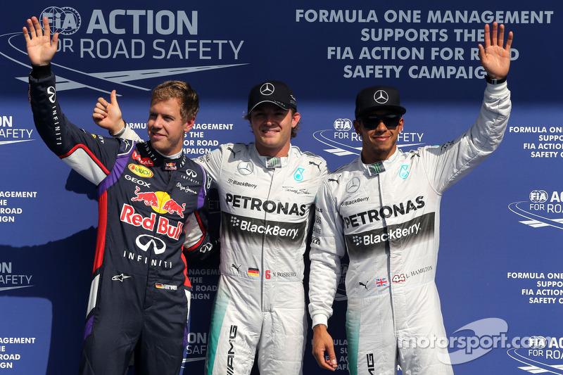 Sebastian Vettel, Red Bull Racing, Nico Rosberg, Mercedes AMG F1 Team; Lewis Hamilton, Mercedes AMG