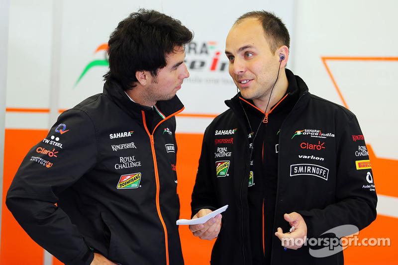 Sergio Perez, Sahara Force India F1, con Gianpiero Lambiase, Ingegnere Sahara Force India F1