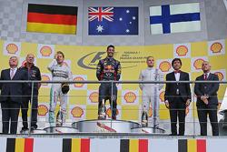 Podium: race winner Daniel Ricciardo, second place Nico Rosberg, third place Valtteri Bottas
