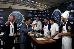 Casio Edifice Lansmanı, Red Bull Enerji İstasyonu'nda, Christian Horner, Red Bull Racing Takım Patronu, Tom Sellers, Michelin-yıldız şefi ve Daniel Ricciardo, Red Bull Racing