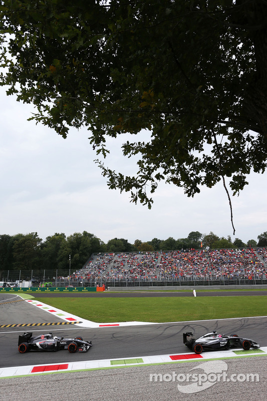 Jenson Button, McLaren MP4-29 davanti a Giedo van der Garde, Sauber C33 terzo pilota