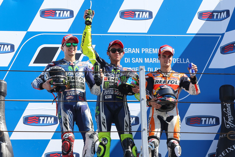 2014: 1. Valentino Rossi, 2. Jorge Lorenzo, 3. Dani Pedrosa