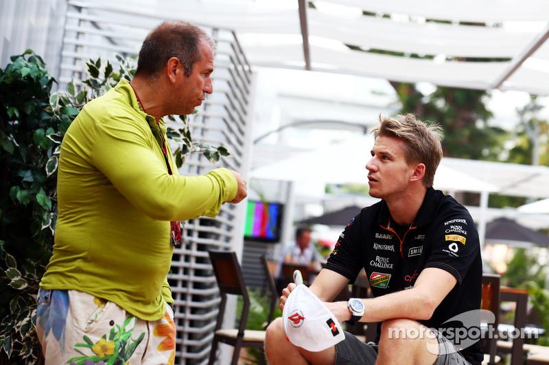 (L to R): Kai Ebel, RTL TV Presenter with Nico Hulkenberg, Sahara Force India F1