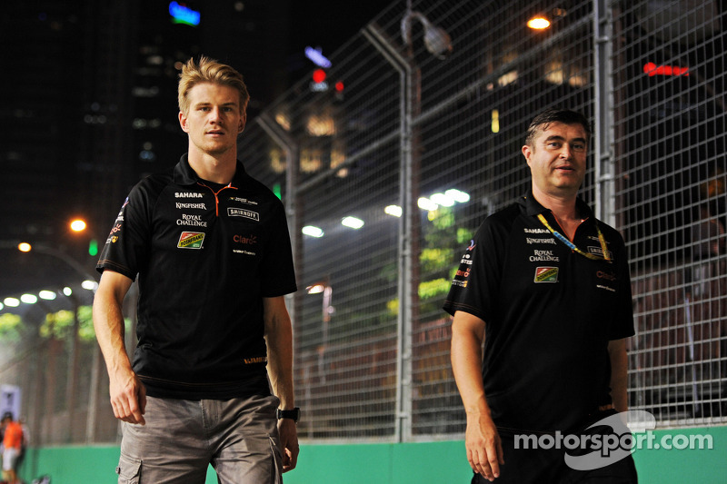 Trackwalk: Nico Hülkenberg, Sahara Force India F1; Bradley Joyce, Sahara Force India F1, Renningenie